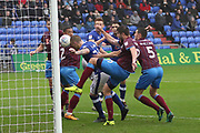 Peter Clarke (Captain) Oldham Defender heads a goal during the EFL Sky Bet League 1 match between Oldham Athletic and Scunthorpe United at Boundary Park, Oldham, England on 28 October 2017. Photo by George Franks.
