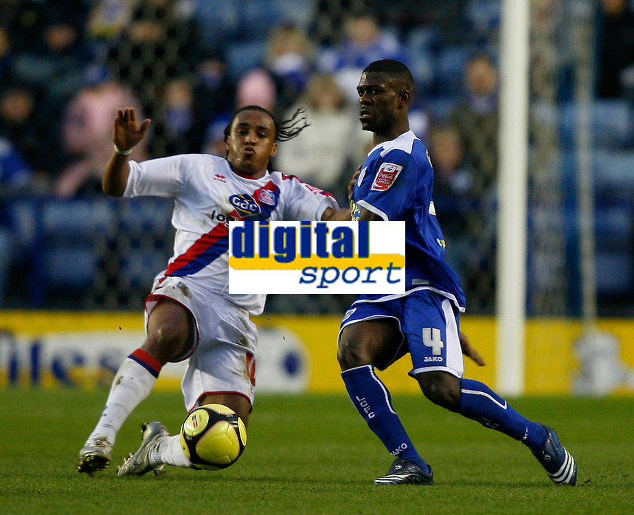 Photo: Steve Bond/Richard Lane Photography. Leicester City v Crystal Palace. E.ON FA Cup Third Round. 03/01/2009. Neil Danns (L) moves into tackle Kerrea Gilbert (R)