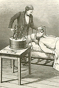 Anaesthetist administering chloroform using apparatus devised by Dr Raphael Dubois to meet the requirements of the great French physiologist Paul Bert (1833-1886). From 'La Nature', Paris, 1885.