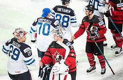 Harri Sateri of Finland and Calvin Pickard of Canada during the 2017 IIHF Men's World Championship group B Ice hockey match between National Teams of Canada and Finland, on May 16, 2017 in AccorHotels Arena in Paris, France. Photo by Vid Ponikvar / Sportida