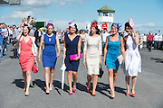 29/07/2013  Louise Mullins Bushypark, Michelle O Sullivan, Salthill, Fiona Faherty, Moycullen, Pamela Barrett Kilcolgan, Trish Kyne Moycullen and Sharon O Toole, Moycullen  All from Galway and all wearing Milliner Michael Mullins Hats  at the first evening of the Galway Races. Picture :  Andrew Downes