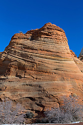 Sandstone rock formation with circular erosion lines, Zion National Park, Utah, United States of America