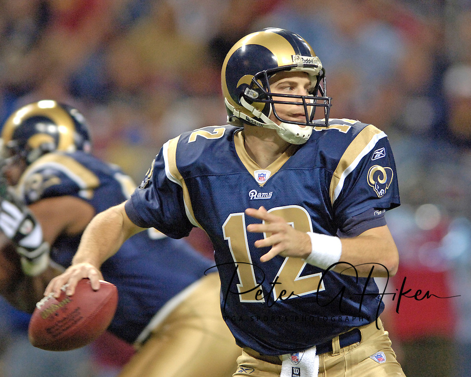St. Louis Rams quarterback Ryan Fitzpatrick looks down filed against the Washington Redskins, at the Edward Jones Dome in St. Louis, Missouri, December 4, 2005.  The Redskins beat the Rams 24-9.