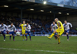 BURY, ENGLAND - New Year's Day Tuesday, January 1, 2013: Tranmere Rovers' captain Andy Robinson sees his penalty kick saved against Bury during the Football League One match at Gigg Lane. (Pic by David Rawcliffe/Propaganda)
