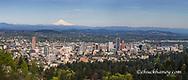 Panoramic of downtown Portland, Oregon, USA with Mt Hood