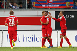 24.09.2014, Voith Arena, Heidenheim, GER, 2. FBL, 1. FC Heidenheim vs 1. FC Nuernberg, 7. Runde, im Bild Marc Schnatterer (1.FC Heidenheim) Patrick Mayer (1.FC Heidenheim) Robert Leipertz ( 1.FC Heidenheim ) nach dem 3:0 // during the 2nd German Bundesliga 7th round match between 1. FC Heidenheim and 1. FC Nuernberg at the Voith Arena in Heidenheim, Germany on 2014/09/24. EXPA Pictures © 2014, PhotoCredit: EXPA/ Eibner-Pressefoto/ Langer<br /> <br /> *****ATTENTION - OUT of GER*****