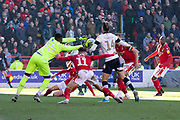 Brice Samba saves during the EFL Sky Bet Championship match between Nottingham Forest and Luton Town at the City Ground, Nottingham, England on 19 January 2020.