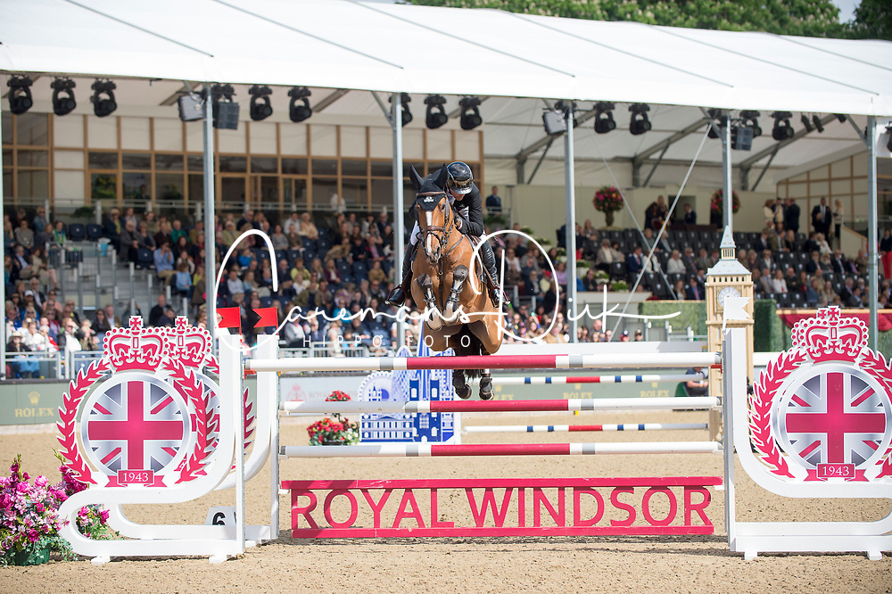 Lamaze Eric, CAN, Fine Lady 5<br /> Rolex Grand Prix Jumping<br /> Royal Windsor Horse Show<br /> &copy; Hippo Foto - Jon Stroud