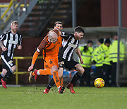 10th April 2018, Tannadice Park, Dundee, Scotland; Scottish Championship football, Dundee United versus St Mirren; Cammy Smith of St Mirren takes on Grant Gillespie of Dundee United
