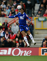 Photo: Richard Lane/Richard Lane Photography. Nottingham Forest v Birmingham City. Coca Cola Championship. 08/11/2008. Liam Ridgewell in the air