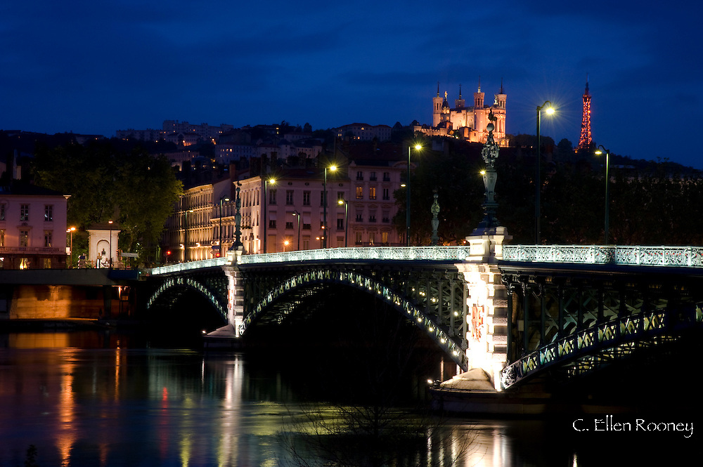 The Pont de l'Universite and the Lyon skyline at night;  Lyon, France