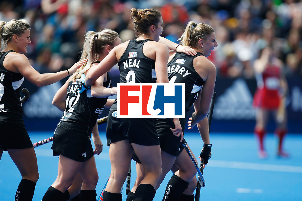 LONDON, ENGLAND - JUNE 25:  Olivia Merry (R) of New Zealand after scoring a goal during the FIH Women's Hockey Champions Trophy 2016 match between the USA and New Zealand at Queen Elizabeth Olympic Park on June 25, 2016 in London, England.  (Photo by Joel Ford/Getty Images)