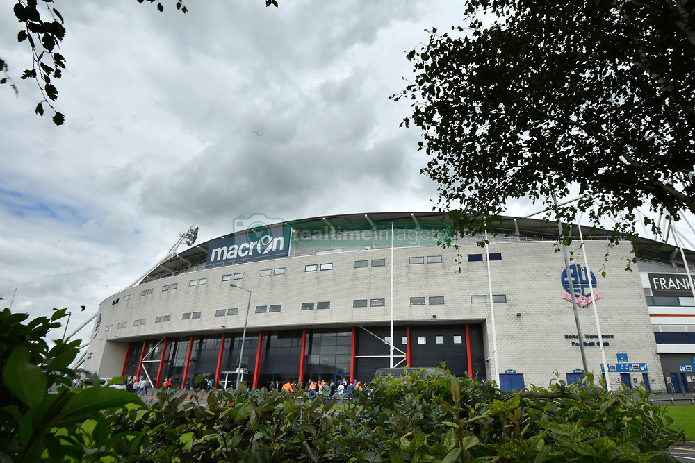 "General view of the Macron Stadium before the pre-season match at the Macron Stadium, Bolton. PRESS ASSOCIATION Photo. Picture date: Saturday July 29, 2017. See PA story SOCCER Bolton. Photo credit should read: Anthony Devlin/PA Wire. RESTRICTIONS: EDITORIAL USE ONLY No use with unauthorised audio, video, data, fixture lists, club/league logos or ""live"" services. Online in-match use limited to 75 images, no video emulation. No use in betting, games or single club/league/player publications."