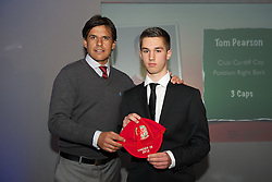 CARDIFF, WALES - Saturday, May 11, 2013: Tom Pearson is presented with his U16's cap by Wales national team manager Chris Coleman at the FAW Trust Under-16's cap presentation. (Pic by David Rawcliffe/Propaganda)