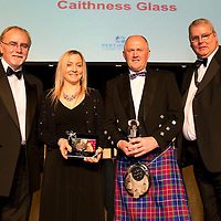 Perthshire Chamber of Commerce Business Star Awards 2010, Crieff Hydro...26.11.10<br /> Sarah Peterson of Caithness Glass and Wylie Woodburn of Highland Spring recieve Presidents Awards from Paul Shields (right) and Dr Thomas Moore, Principle & CE of Perth College UHI<br /> Picture by Graeme Hart.<br /> Copyright Perthshire Picture Agency<br /> Tel: 01738 623350  Mobile: 07990 594431