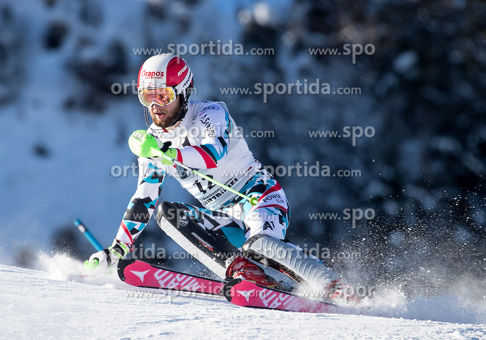 22.01.2017, Hahnenkamm, Kitzbühel, AUT, FIS Weltcup Ski Alpin, Kitzbuehel, Slalom, Herren, 1. Lauf, im Bild Marco Schwarz (AUT) // Marco Schwarz of Austria in action during his 1st run of men's Slalom of FIS ski alpine world cup at the Hahnenkamm in Kitzbühel, Austria on 2017/01/22. EXPA Pictures © 2017, PhotoCredit: EXPA/ Johann Groder