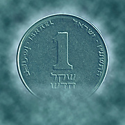 Digitally enhanced image of a One New Israeli Shekel coin (ILS or NIS)