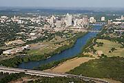 Lady Bird Lake on the Colorado River flows toward Austin, TX