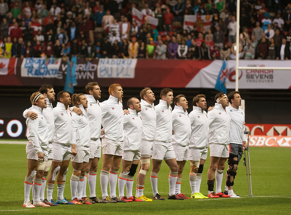 England sing the national anthem before winning the cup over South Africa at the Canada Sevens,  Round Six of the World Rugby HSBC Sevens Series in Vancouver, British Columbia, Sunday March 12, 2017. <br /> <br /> Jack Megaw.<br /> <br /> www.jackmegaw.com<br /> <br /> jack@jackmegaw.com<br /> @jackmegawphoto<br /> [US] +1 610.764.3094<br /> [UK] +44 07481 764811