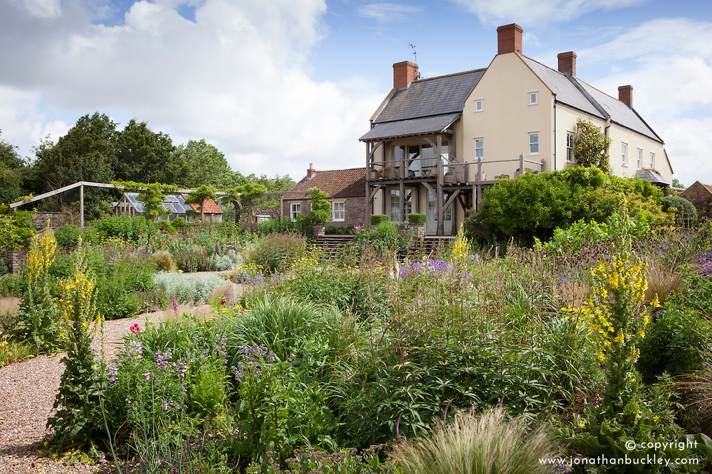 The gravel garden and house at Holt Farm organic garden