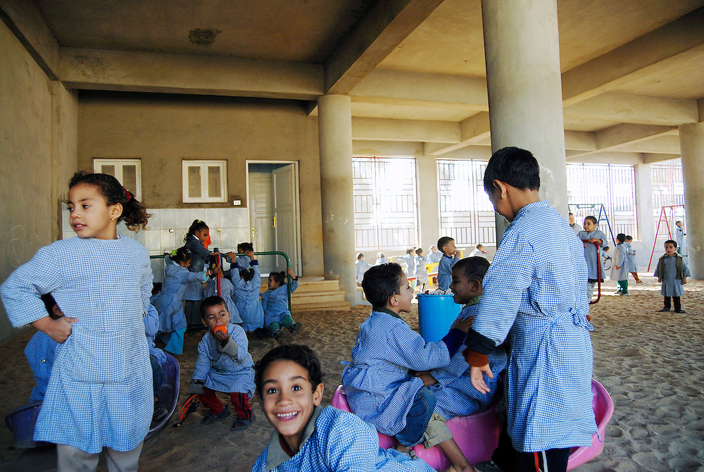 EGYPT, QALYOUBIYA: A kindergarden and pre-school for children of leprosy patients is run by Caritas. Abu Zaabal, Egypt's leprosy colony 40km north of Cairo, was built in 1933 and lepers were historically brought in by police and were not allowed to leave as isolation was seen as the only treatment. Now living conditions there, with all necessary facilities, are generally much better than in the poor rural villages where most patients come from. Due to this, the 750 or so patients and another 3,000 to 4,000 cured lepers living in the adjoining Abdel Moneim Riad village don't want to leave anymore. By staying in the village they also don't have to fear from any stigma or derisive comments.