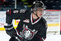 KELOWNA, CANADA -FEBRUARY 5: Kirk Bear #6 of the Red Deer Rebels skates during warm up against the Kelowna Rockets on February 5, 2014 at Prospera Place in Kelowna, British Columbia, Canada.   (Photo by Marissa Baecker/Getty Images)  *** Local Caption *** Kirk Bear;