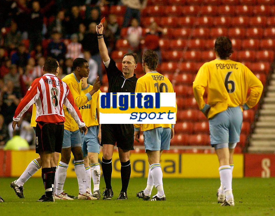 Photo. Glyn Thomas, Digitalsport<br /> NORWAY ONLY<br /> <br /> Sunderland v Crystal Palace. <br /> Division 1 Playoffs, second leg. 17/05/2004.<br /> Palace's Julian Gray (second from L) pleads with referee D. Pugh as he is shown the red card.