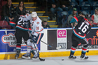 KELOWNA, CANADA - NOVEMBER 1: Nick Chyzowski #16 of the Kamloops Blazers checks Cal Foote #25 of the Kelowna Rockets into the boards on November 1, 2016 at Prospera Place in Kelowna, British Columbia, Canada.  (Photo by Marissa Baecker/Getty Images)  *** Local Caption ***