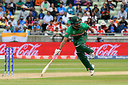 Tamim Iqbal of Bangladesh makes his ground as the ball goes for 4 overthrows during the ICC Cricket World Cup 2019 match between Bangladesh and India at Edgbaston, Birmingham, United Kingdom on 2 July 2019.