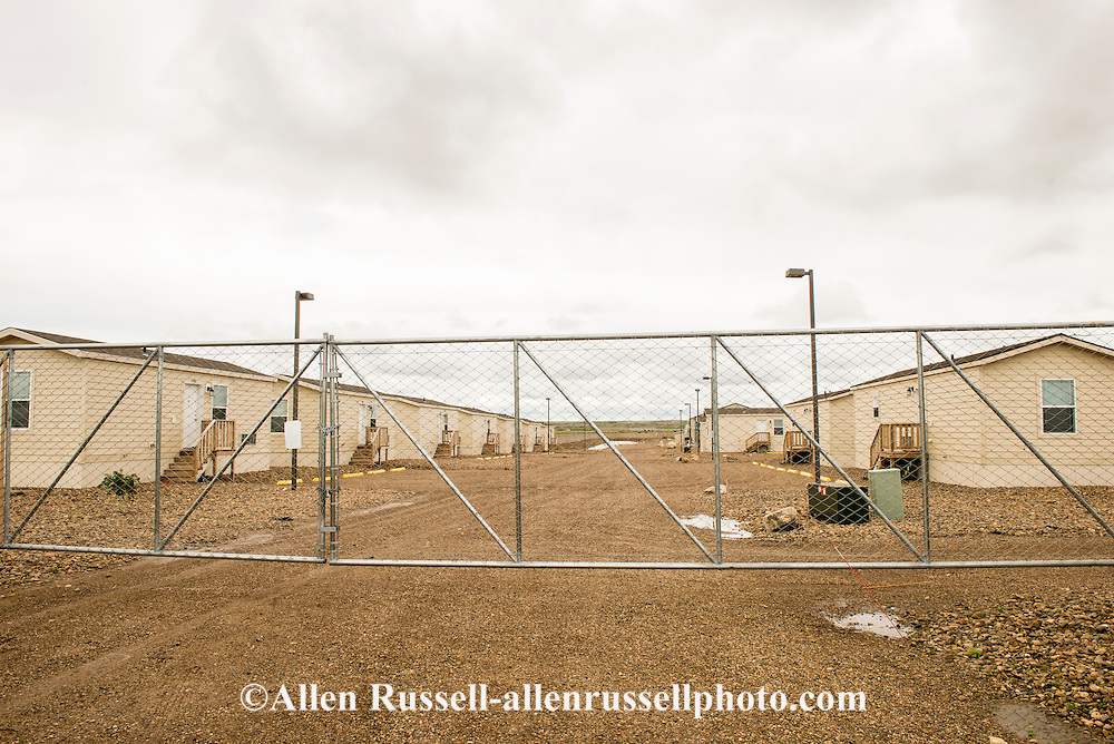 Eagles Landing, west of Sidney Montana, a new concept high end man camp, billed itself as a temporary housing community for the Bakken Oil Fields, now empty and for sale after the bust