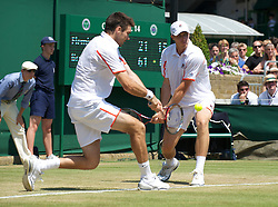 LONDON, ENGLAND - Monday, June 28, 2010: Kenneth Skupski (GBR) and Colin Fleming (GBR) during the Gentlemen's Doubles 2nd Round match on day seven of the Wimbledon Lawn Tennis Championships at the All England Lawn Tennis and Croquet Club. (Pic by David Rawcliffe/Propaganda)