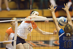 Virginia Cavaliers M Katie Oakes (17)..The Virginia Cavaliers Volleyball Team fell to the Duke Blue Devils three games to none on November 16, 2006 at Memorial Gymnasium in Charlottesville, VA...