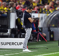 FUSSBALL 1. BUNDESLIGA   SAISON 2019/2020   SUPERCUP FINALE Borussia Dortmund - FC Bayern Muenchen    03.09.2019 Nico Kovac (FC Bayern Muenchen) enttaeuscht DFL regulations prohibit any use of photographs as image sequences and/or quasi-video.