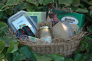22 gift baskets for B&G Gourmet, shot in my garden in Hillsdale.