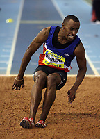 Photo: Rich Eaton.<br /> <br /> Norwich Union European Indoor Trials and UK Championships, Sheffield. 11/02/2007. Nathan Douglas pictured on his way to winning the mens triple jump