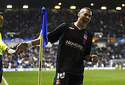 Olympique Lyonnais' Karim Benzema celebrates his goal during the UEFA Champions League soocer match, Group E, Rangers vs Olympique Lyonnais at the Ibrox Stadium in Glasgow, UK on December 12, 2007. Olympique Lyonnais won 3-0. Photo by Christian Liewig/Cameleon/ABACAPRESS.COM