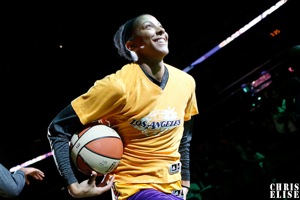 15 August 2014: Los Angeles Sparks forward/center Sandrine Gruda (7) is seen during the players introduction prior to  the Los Angeles Sparks 77-65 victory over the Seattle Storm, at the Staples Center, Los Angeles, California, USA.