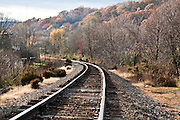 Railroad tracks in Autumn that run through Crozet, Virginia, part of CSX Transportation and the Buckingham Branch Railroad, a Virginia-based short-line railroad.