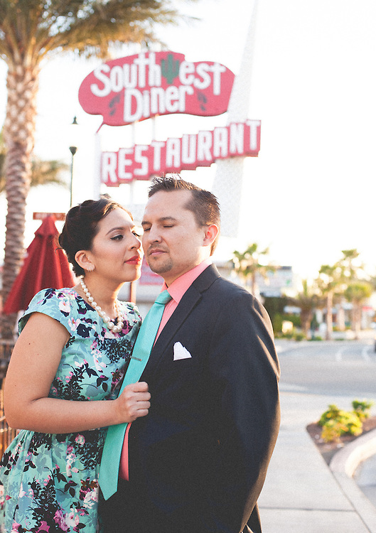 A beautiful engagement photo shoot in down town boulder city nevada