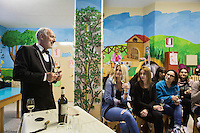 LECCE, ITALY - 10 NOVEMBER 2016: Roberto Giannone (left), a trained sommelier, volunteers to lecture to female inmates on the arts and crafts of wine tasting and serving, in the largest penitentiary in the southern Italian region of Apulia, holding 1,004 inmates in the outskirts of Lecce, Italy, on November 10th 2016.<br /> <br /> Here a group of ten high-security female inmates and aspiring sommeliers , some of which are married to mafia mobsters or have been convicted for criminal association (crimes carrying up to to decades of jail time), are taking a course of eight lessons to learn how to taste, choose and serve local wines.<br /> <br /> The classes are part of a wide-ranging educational program to teach inmates new professional skills, as well as help them develop a bond with the region they live in.<br /> <br /> Since the 1970s, Italian norms have been providing for reeducation and a personalized approach to detention. However, the lack of funds to rehabilitate inmates, alongside the chronic overcrowding of Italian prisons, have created a reality of thousands of incarcerated men and women with little to do all day long. Especially those with a serious criminal record, experts said, need dedicated therapy and professionals who can help them.