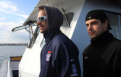 Jurij Golicic and Jakob Milovanovic at whale watching boat when Poloncic (18), Golicic (17), Rebolj (27) and Razingar (9) were celebrating an anniversary of playing for Slovenian National Team for 100 (120) times, during IIHF WC 2008 in Halifax,  on May 07, 2008, sea at Halifax, Nova Scotia,Canada.(Photo by Vid Ponikvar / Sportal Images)