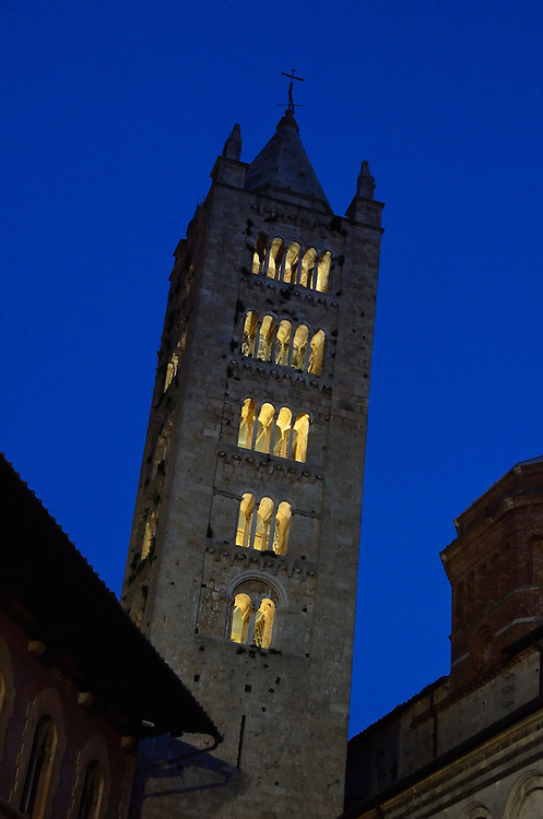 The tower of the Cathedral of San Cerbone in Massa Marittima, Italy.