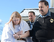 Sara Packer is taken away by constables after her arraignment Sunday January 8, 2017 in Newtown, Pennsylvania. She is accused of conspiring with her boyfriend Jacob Sullivan, to rape and kill her daughter Grace Packer, dismembering her body and dumping her remains in a wooded area of Northeastern Pennsylvania, some 100 miles from where Grace lived in Abington Township. (Photo by William Thomas Cain/Cain Images)