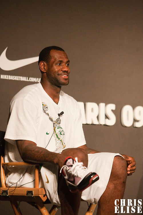 01 september 2009: NBA player Lebron James smiles as he listens to journalists during a press conference about the documentary More than a game, at Grand Palais, in Paris, France.