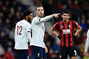 Jordan Henderson (14) of Liverpool points during the Premier League match between Bournemouth and Liverpool at the Vitality Stadium, Bournemouth, England on 7 December 2019.