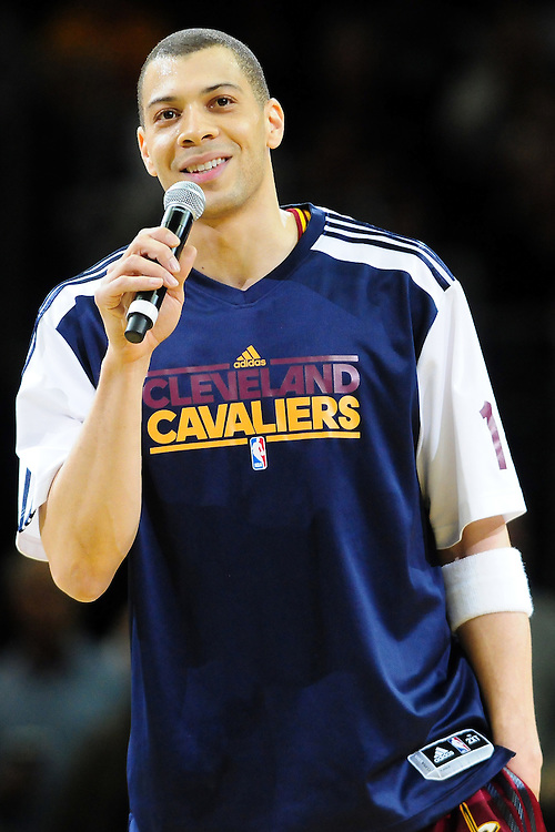 April 13, 2011; Cleveland, OH, USA; Cleveland Cavaliers shooting guard Anthony Parker (18) thanks the fans prior to the game between the Cleveland Cavaliers and the Washington Wizards at Quicken Loans Arena. Mandatory Credit: Jason Miller-US PRESSWIRE