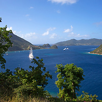 France, Guadeloupe, Les Saintes. Windstar's Flagship Sailing Yacht, the Wind Surf, anchored at Les Saintes, Guadeloupe.