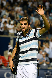 August 10, 2018 - Toronto, ON, U.S. - TORONTO, ON - AUGUST 10: Marin Cilic (CRO) acknowledges the crowd after losing his  Quarter-Finals match at the Rogers Cup tennis tournament on August 10, 2018, at Aviva Centre in Toronto, ON, Canada. (Photograph by Julian Avram/Icon Sportswire) (Credit Image: © Julian Avram/Icon SMI via ZUMA Press)