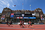 Apr 26, 2018; Philadelphia, PA, USA; General overall view of a college women's 4 x 100m relay heat during the 124th Penn Relays at Franklin Field.