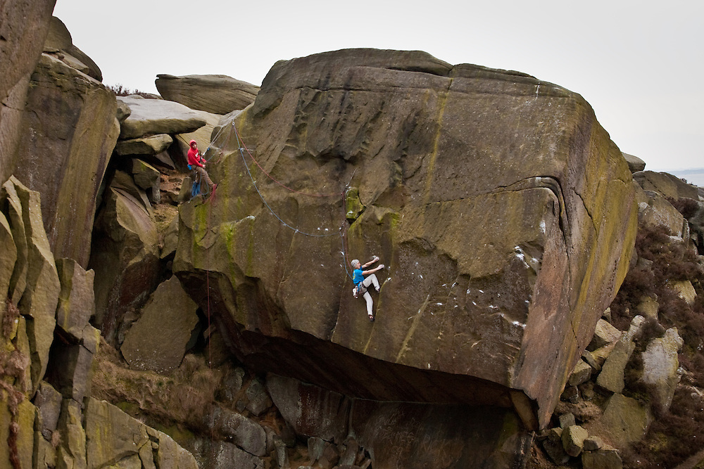 Ed Hamer on the third ascent of Silent Scream at the Burbage South Quarries